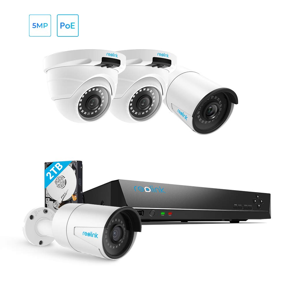 Reolink 5MP PoE Home Security Camera System, 8 Channel NVR Recorder (2TB Hard Drive Built-in) and 2560x1920p Surveillance IP Camera Outdoor/Indoor with 100ft Long Night Vision RLK8-410B2D2-5MP