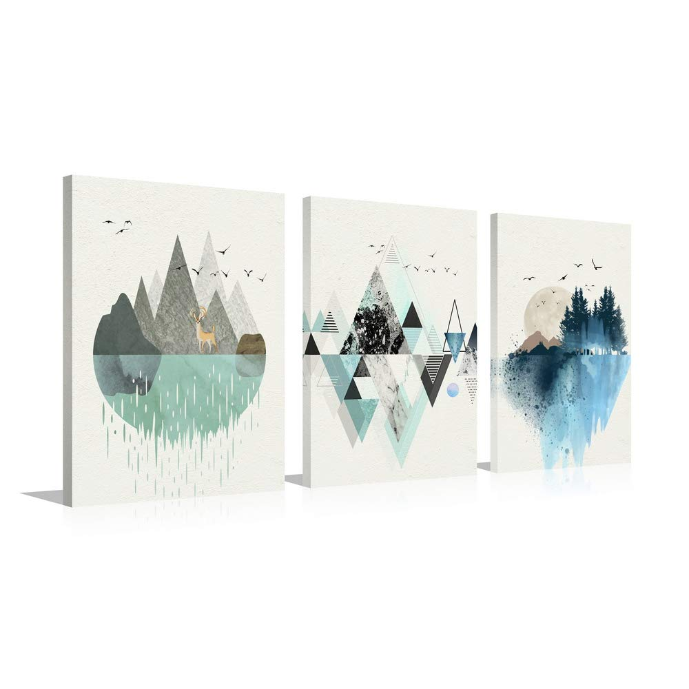 HLJ ART Abstract Watercolor Mountain Canvas Print Wall Decor for Home Office Decoration (M, A02)
