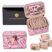 Angelina's Palace Jewelry Organizer Case Bridesmaid Gifts Travel Bag Vegan Leather Box for Necklace Earring Bracelet Ring(Blossom Pink)