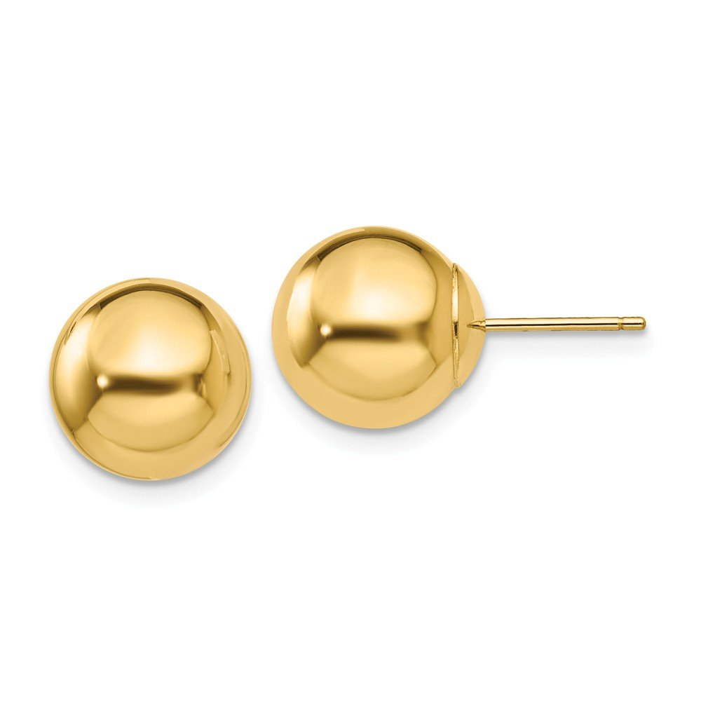 14k Yellow Gold 10mm Ball Post Stud Earrings Button Fine Jewelry For Women Gifts For Her