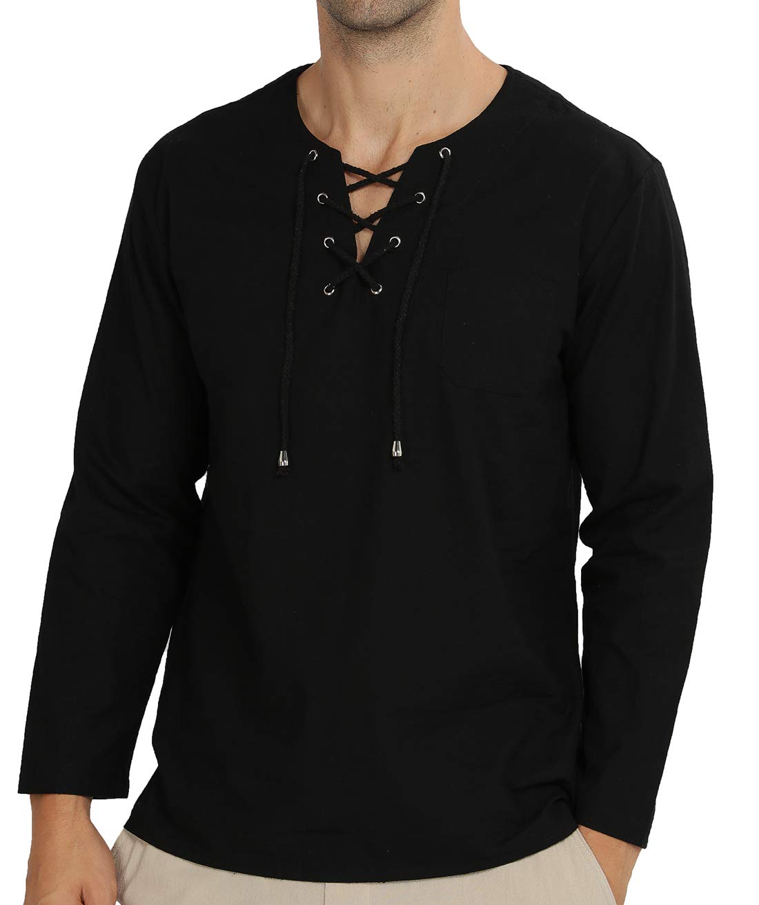 WULFUL Men's Casual Long Sleeve Hippie Summer Beach Yoga Shirts Cotton Fashion T-Shirt