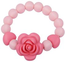 """Teething Beads Bracelet Ring for Baby Girl Boy, Handmade Silicone Teether Toy for Toddlers,2.5"""" Diameter,Infant Pink Sensory Chew Toys,BPA Free"""
