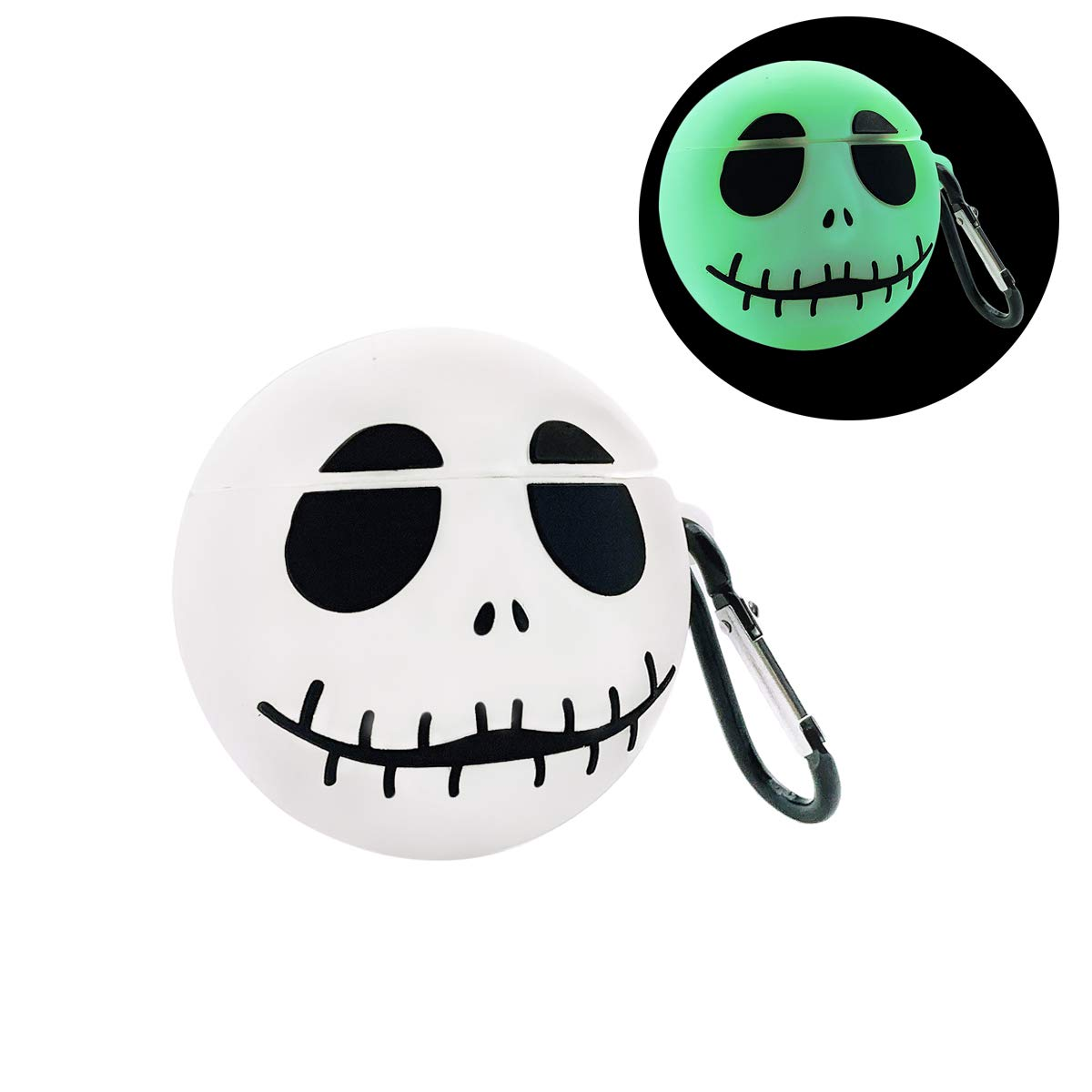 MOLOVA Case for Airpods 1&2 Case,Soft Silicone 3D Cute Funny Fun Cool Cartoon Character Kawaii Airpods Cover Fashion Chic Design Skinwith Keychain for Kids Teens Boys Girls (Luminous Skull)