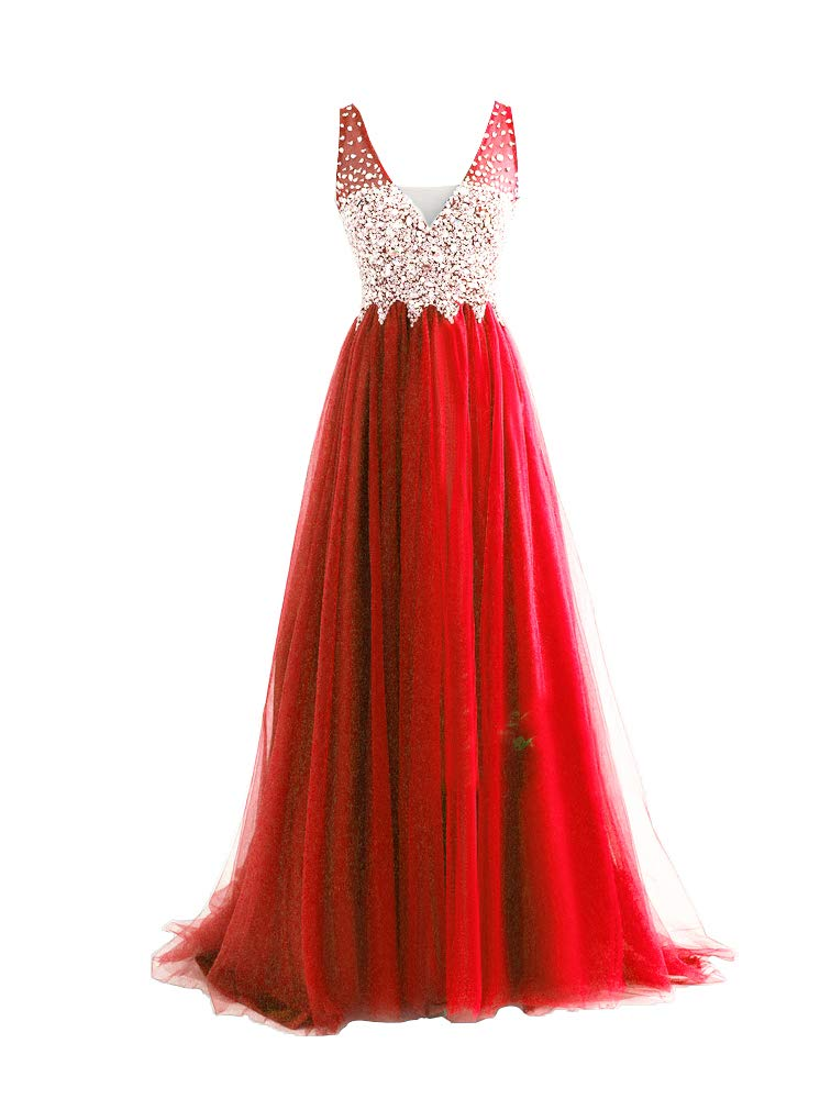 Still Waiting Women's V Neckline Beaded Formal Evening Gowns Backless Tulle Prom Dresses Long C007