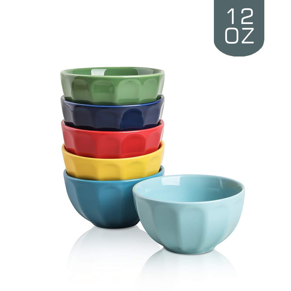 Selamica Porcelain Fluted Latte Bowl Set - 12 Ounce for Rice, Soup, Snacks - Set of 6, Assorted colors