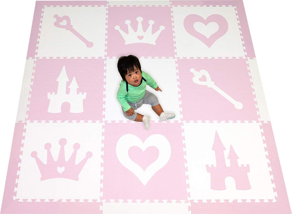 SoftTiles Princess Theme Foam Play Mat | Princess Decor | Nontoxic Interlocking Floor Tiles for Girls' Playrooms & Baby Nursery | Light Pink and White- 6.5 x 6.5 ft.- SCPRIWC