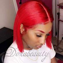 """Dorabeauty Short Wigs 8inches Natural Straight Red Bob Wigs for Black Women 130% Density Lace Front Wigs Human Hair with Natural Hairline (8"""" inch, Red)"""