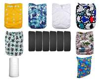 Lilbit Adjustable 6 Baby Cloth Diapers + 6 Inserts,Flushable Viscose Liners,Wet/Dry Bag