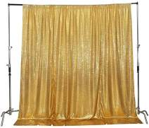 Poise3EHome 8FtX8Ft Not See Through Sequin Photography Backdrop Glittery Thick Satin Wedding Party Sequin Curtain, Gold Satin