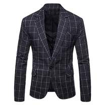Mens Plaids Suit Blazer Slim Fit One Button Notch Lapel Casual Daily Dress Suit Jacket Sport Coat