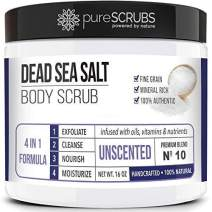 pureSCRUBS Premium Organic Body Scrub Set - Large 16oz UNSCENTED BODY SCRUB - Dead Sea Salt Infused Organic Essential Oils & Nutrients, INCLUDES Wooden Spoon, Loofah & Organic Exfoliating Bar