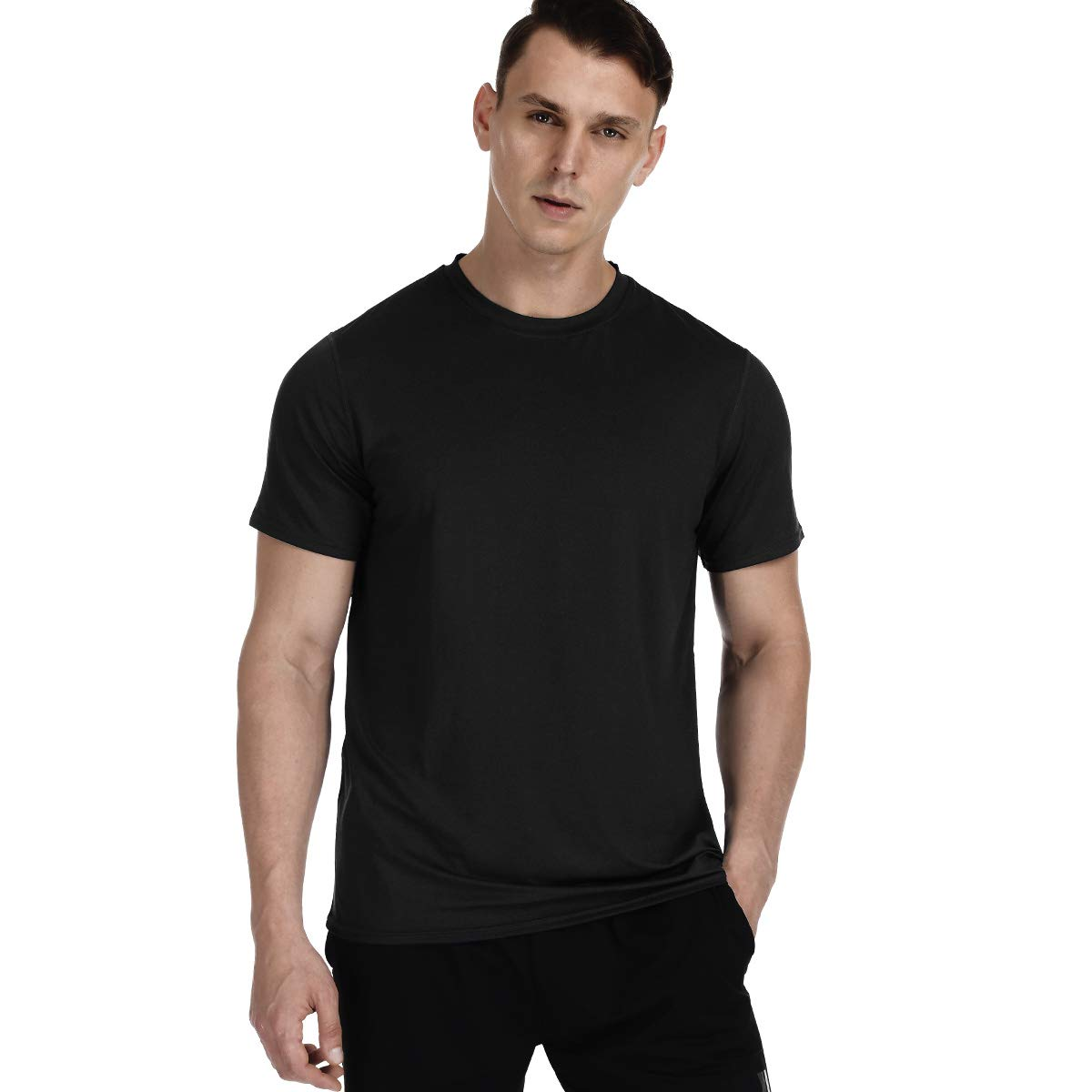 MeetHoo Men's Athletic T Shirts, Quick Dry Workout Short Sleeve Shirt Gym Tops for Sport Running