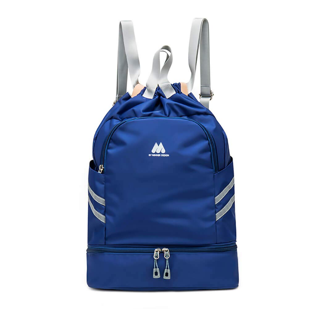 Women Sports Backpack Drawstring Gym Bag with Shoe Compartment Wet Pocket Anti-Theft Pocket Travel Backpacks Water Resistant Workout Bag (Dark Blue)