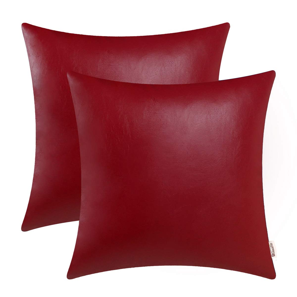 BRAWARM Pack of 2 Cozy Throw Pillow Covers Cases for Couch Sofa Home Decoration Solid Dyed Soft Faux Leather Both Sides 22 X 22 Inches Deep Red