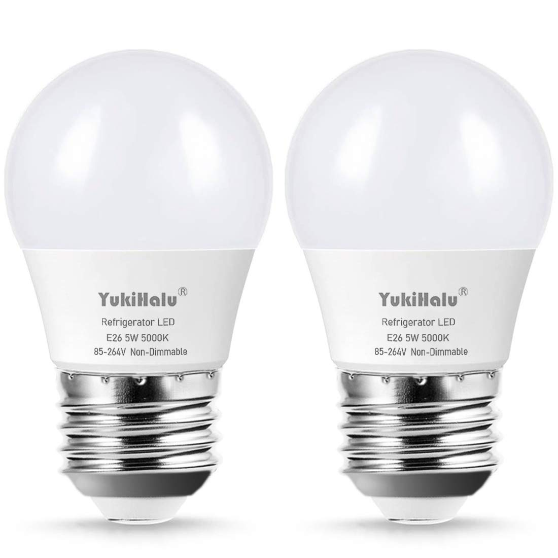 LED Refrigerator Light Bulb 40W Equivalent A15 Appliance Fridge Bulbs, Waterproof, 450 Lumen 5W Daylight 5000K E26 Medium Base, Small Size Bulb, for Damp Location, Not Dimmable, 2-Pack