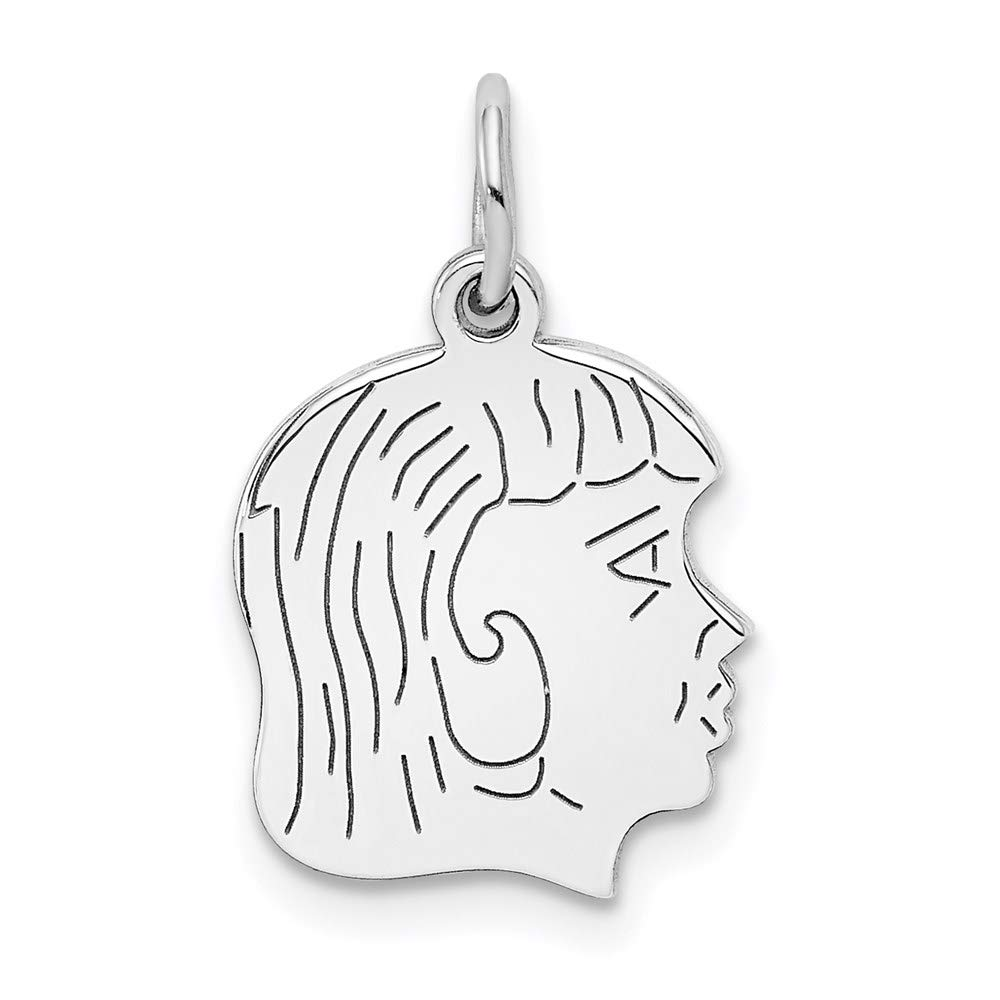 Sterl Silver Rh Plt Engraveable Girl Front Back Disc Pendant Charm Necklace Engravable Right Facing Boy Head Pre Engraved Fashion Jewelry For Women Gifts For Her