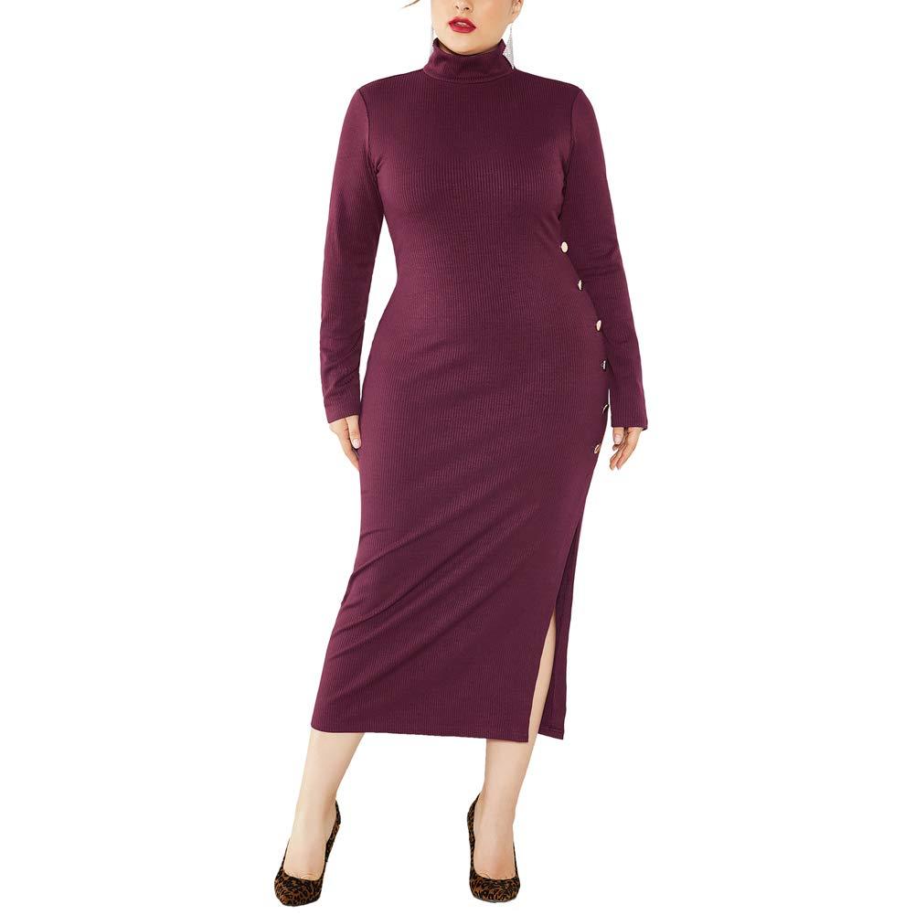 kaimimei Plus Size Sweater Dress for Women Turtleneck Long