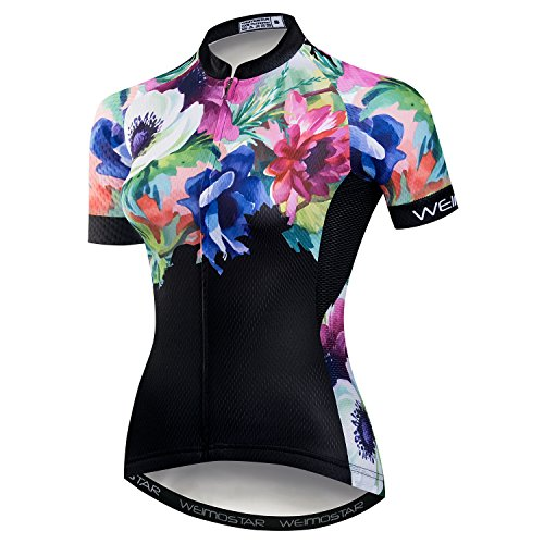 Women Cycling Jersey Short Sleeve Breathable with Pockets Flower