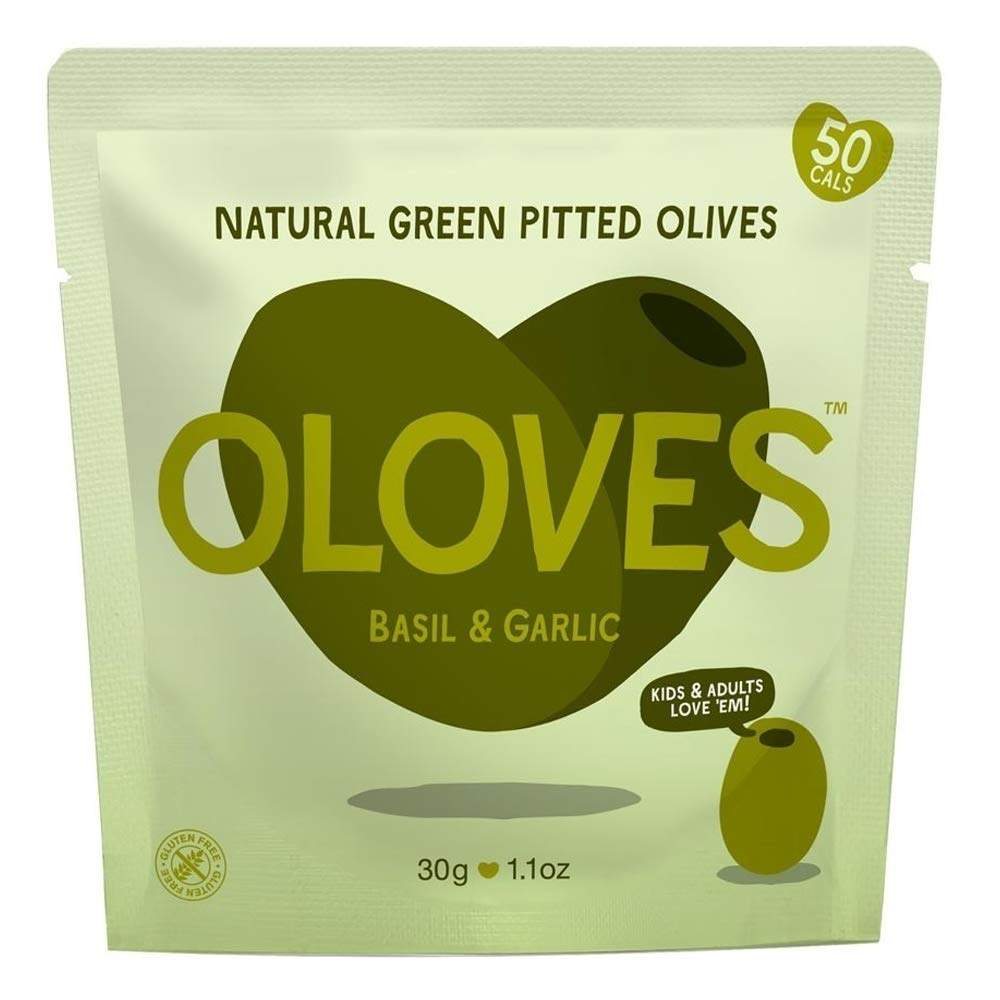 OLOVES Whole Pitted Green Olives | 30 Pack | Basil & Garlic | Vegan, Kosher, Gluten Free + Keto Friendly, All Natural Low Calorie Healthy Snacks | 1.1oz Bags