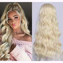 AISI BEAUTY 22 inch Wavy Ponytail Extension for Black Women Synthetic Wrap Around Ponytail Long Curly Wavy Clip in Magic Paste Ponytail Hairpiece(613#)