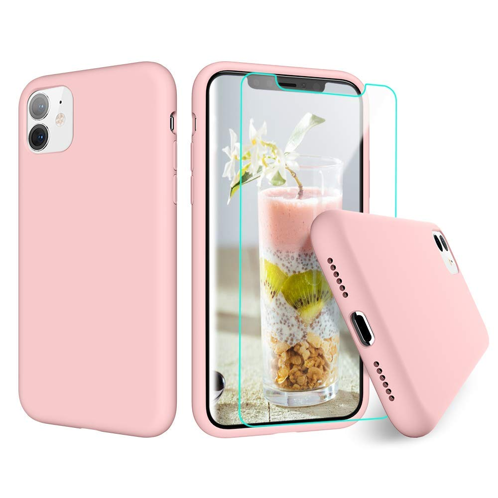 VEGO Liquid Silicone Case Compatible for iPhone 11 Case, Slim Anti Scratch Gel Rubber Bumper with Soft Microfiber Lining Shockproof Cover Compatible for iPhone 11 Case 6.1 inch - Pink