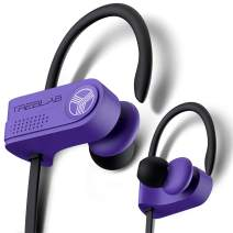 TREBLAB XR700 Wireless Sports Earbuds - Custom Adjustable Earhooks, PRO Running Bluetooth 5.0 Headphones for Athletes. IPX7 Waterproof, Sweatproof, in-Ear Headset, Noise Cancelling Earphones (Purple)