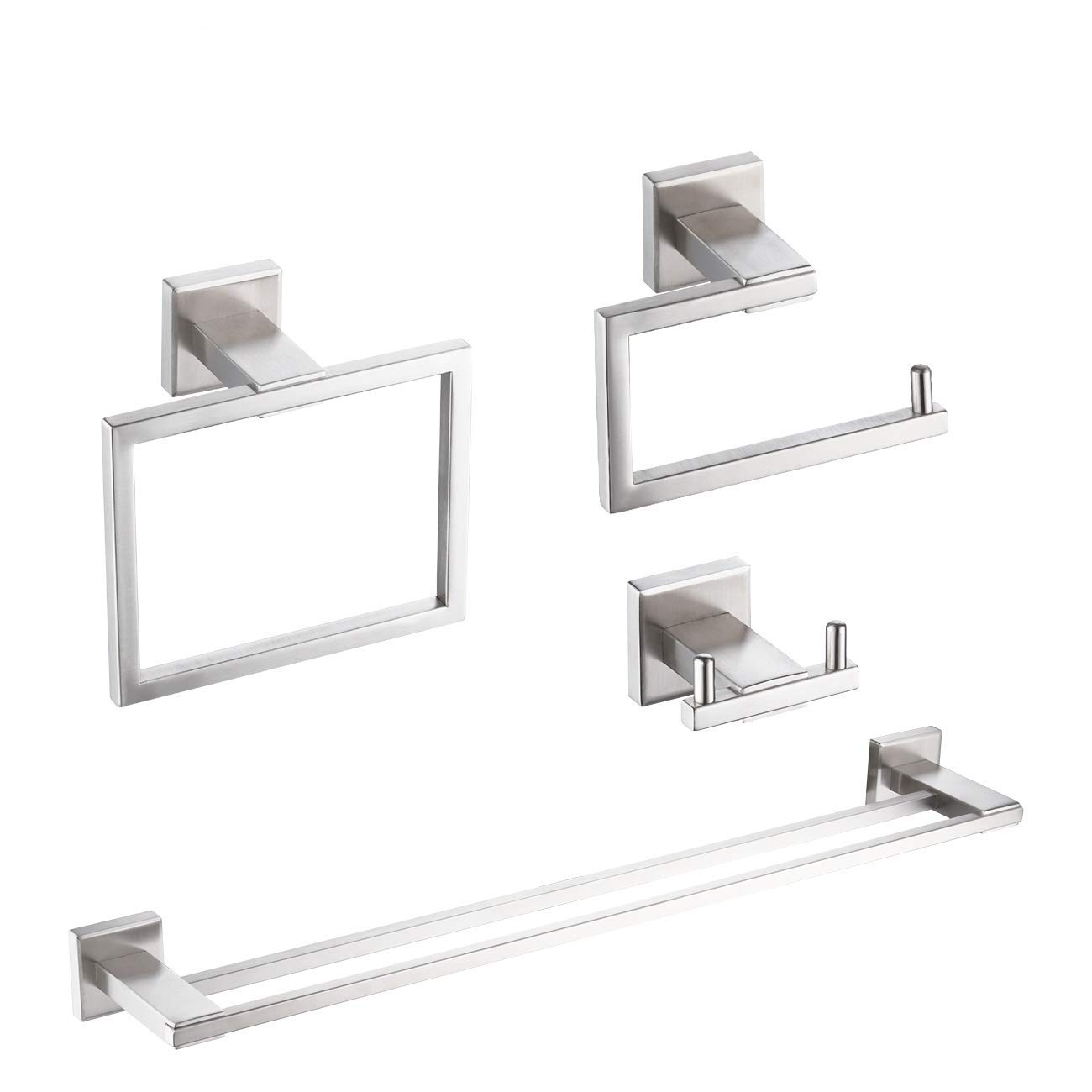 KES Bathroom Accessory Set SUS 304 Stainless Steel 4-Pieces Including Double Towel Bar Toilet Paper Holder Towel Ring Robe Hook Brushed Finish Wall Mount No Drill, LA242DG-43