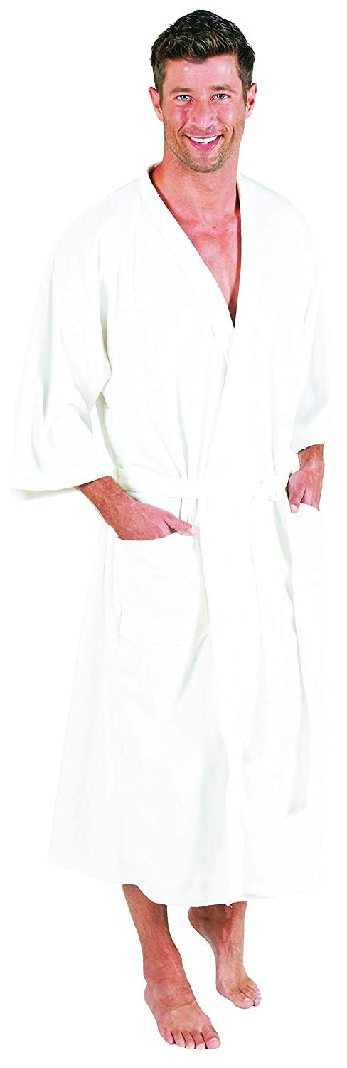 Canyon Rose Cloud 9 Men's Plush Microfiber Spa Robe, White Willow, M/L