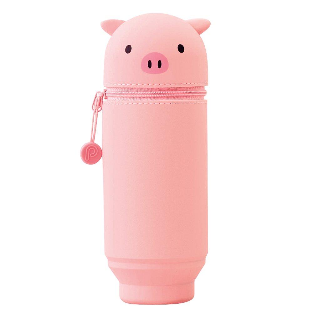 """LIHIT LAB PuniLabo Stand Up Pen Case (Pen Holder), Pig, Large, 2.9"""" x 8.3"""" (A7714-5)"""