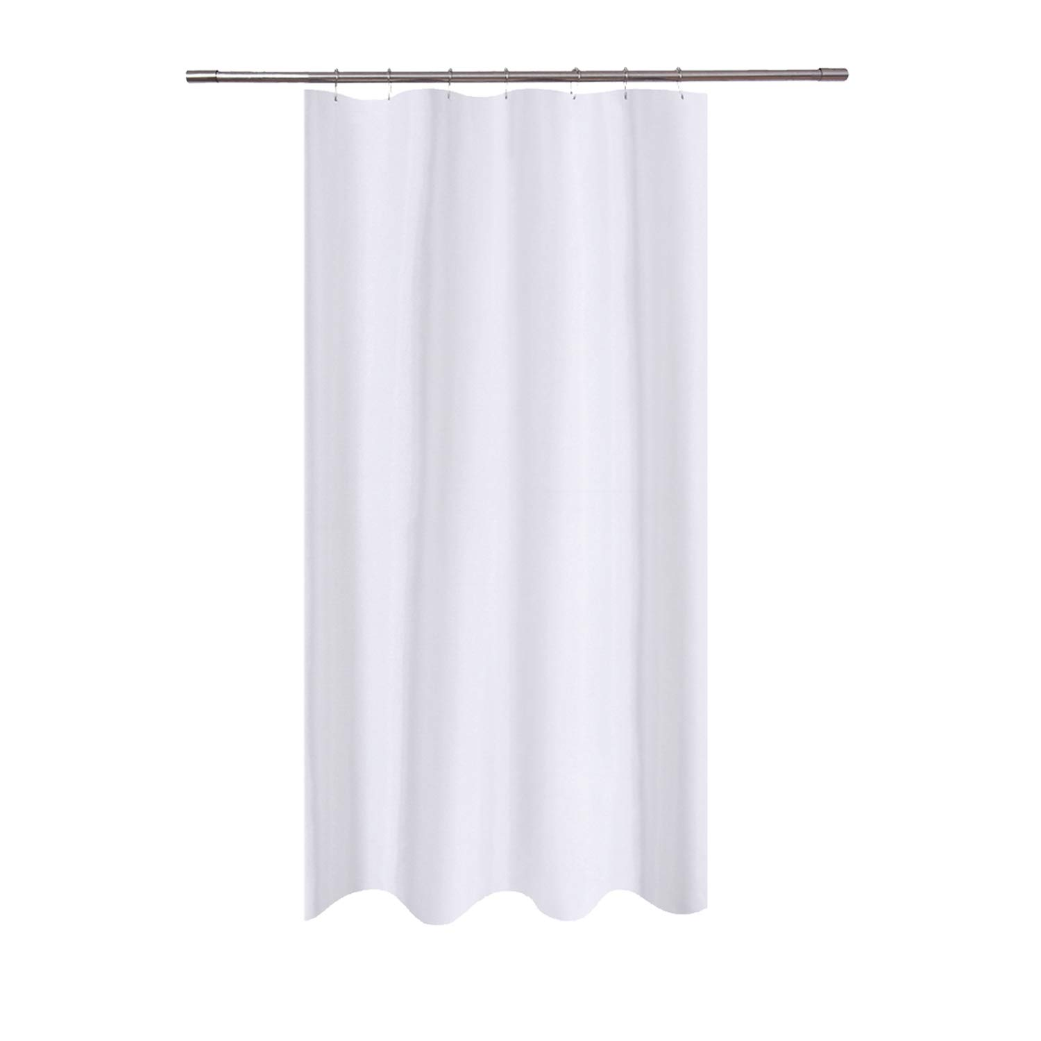 N&Y HOME Fabric Shower Curtain Liner 40 x 72 inches Bath Stall Size, Hotel Quality, Washable, Water Repellent, White Spa Bathroom Curtains with Grommets, 40x72