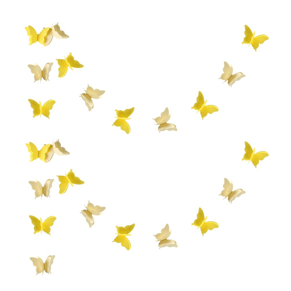zilue Butterfly Banner Decorative Paper Garland for Wedding, Baby Shower, Birthday & Theme Decor 110 Inches Long Set of 2 Pieces Yellow