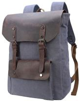Iswee Vintage Laptop Backpack for Women Men, School College Backpack Rucksack Satchel Bookbag Large(Grey-05)