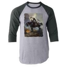 Death Dealer by Frank Frazetta Art Horror Gray L Raglan Baseball Tee Shirt