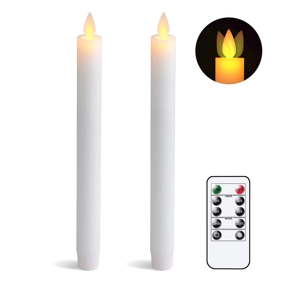 """Eldnacele Flameless Flickering Taper Candles Moving Wick Window Candles with Remote Control Timer, Warm White Real Wax Unscented 9.5""""2 Pack White for Christmas"""