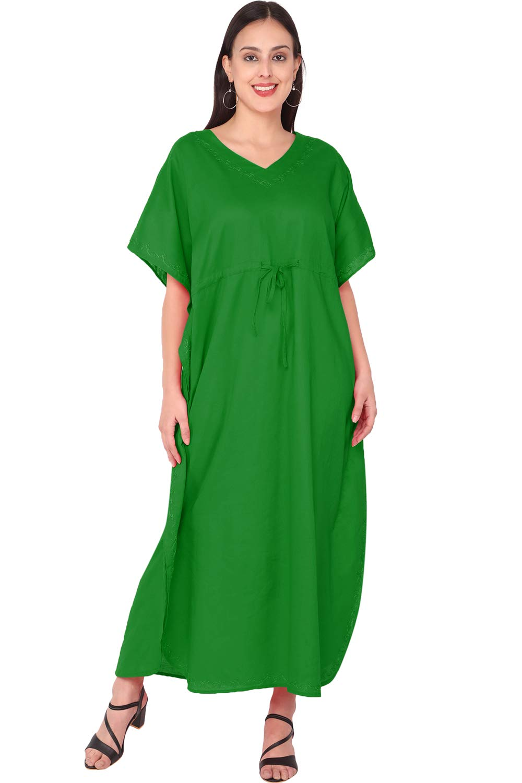 SKAVIJ Women's Tunic Cotton Embroidered Long Kaftan (Free Size)