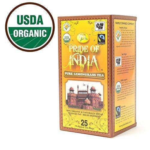 Pride Of India - Organic Lemongrass Ginger Tea, 25 Count (2-Pack)