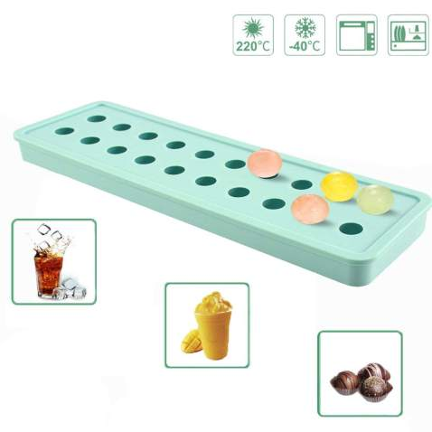 IC ICLOVER Ice Cube Moulds, Easy-Pop Mini 20 Cavities DIY Silicone Ice Trays Sphere Round Ball Maker for Cocktails Whiskey Particles, Candy Pudding Milk Juice for Valentine's Day Halloween Christmas