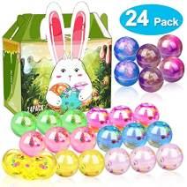 iGeeKid 24 Pcs Slime Easter Eggs Slime Party Favor Supplies Galaxy & Crystal Putty Fruit Slices Slime Balls Eggs Toys Kids Easter Basket Stuffers Toddlers Easter Gift