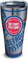 Tervis NBA Detroit Pistons Paint Stainless Steel Insulated Tumbler with Clear and Black Hammer Lid, 30oz, Silver