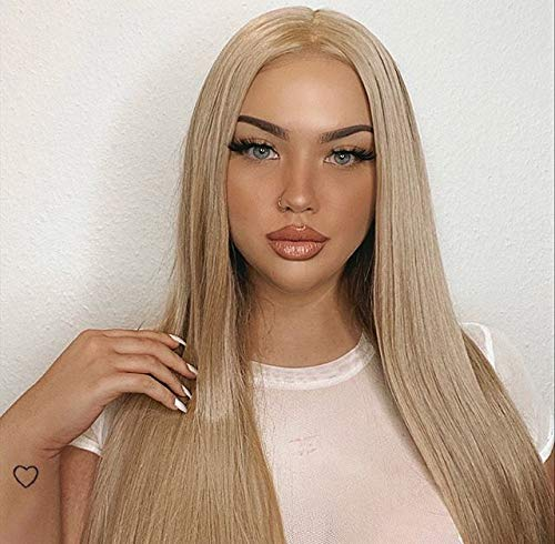 Sapphirewigs Ivory Brown Color Kanekalon Futura Hair No-Tangle Natural Hairline 6''×13'' Deep Big Lace Freedom Part Daily Makeup Women Ivory Brown Hair Synthetic Lace Front Wigs