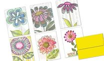 Note Card Cafe All Occasion Greeting Cards with Yellow Envelopes | 72 Pack | Watercolor Gabriella Design | Blank Inside, Glossy Finish | for Greeting Cards, Occasions, Birthdays