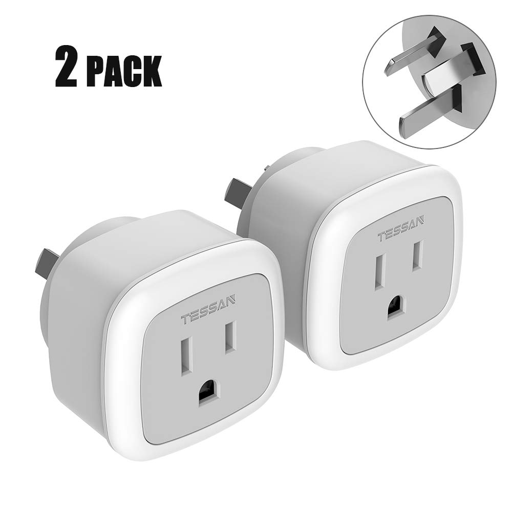 China New Zealand Australia Power Plug Adapter, TESSAN Travel Adaptor for US to Argentina Fiji -Type I Australian Outlet Charger - 2 Pack