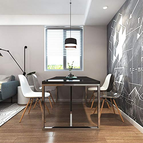 """2xhome Alpha Mid Century Modern Wood Top Metal Base Dining Table, 63"""", Black,1 piece"""