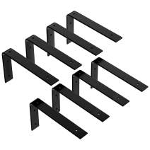 LuckIn 8-Pack 8 x 6 Inch Shelf Wall Brackets, Heavy Duty Metal Steel Decorative Bracket, Shelves Storage Angle Corner Brackets with Hook for Study Bedroom Kitchen