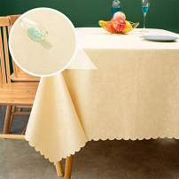 sancua Waterproof Vinyl PU Tablecloth, 52 x 70 Inch, Durable Washable Spill Stain Proof Rectangle Table Cloth, Floral Wipeable Table Cover for Dining & Kitchen Table, Indoor & Outdoor Use, Rose Beige