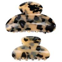 Hair Claw Clips for Women Girls,Ahoney 2 Pack Large Banana Tortoise Jaw Hair Clip Barrettes French Design Leopard Marble Print Large Fashion Accessories for Women Girls(3.4inch+2.6inch)