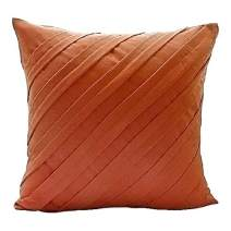 Orange Pillow Covers, Textured Pintucks Solid Color Pillow Covers, 18x18 inch (45x45 cm) Throw Pillow Covers, Square Faux Suede Pillows Covers Couch, Contemporary - Contemporary Orange