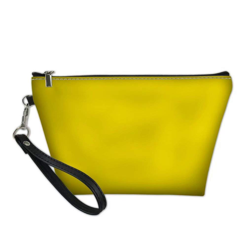 Dellukee Leather Makeup Bag Purse For Women Cute Yellow Roomy Waterproof Toiletry Pouch Travel Cosmetic Bags