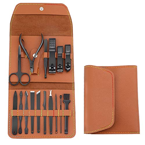 Manicure Set, ZONK Nail Clippers Kit 16 in 1 Professional Pedicure Set, Nail Care Tools for Men/Women, Grooming Kit with Portable PU Leather Case