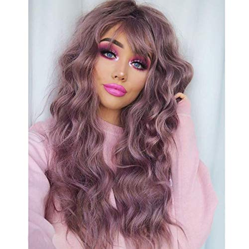 HAIRCUBE Purple Wigs Women's Long Curly Hair Wavy Wigs with Air Bangs Synthetic Daily Cosplay Party Natural As Real Hair+ Free Wig Cap